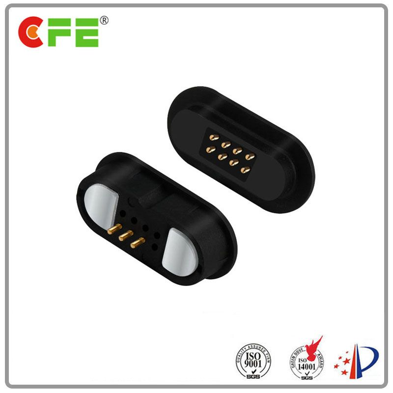 Male female pogo magnetic connector 8 pin