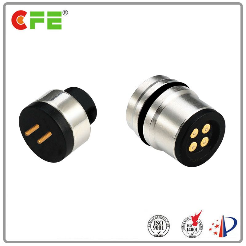 Male and female magnetic pogo 4 pin for bluetooth earphone
